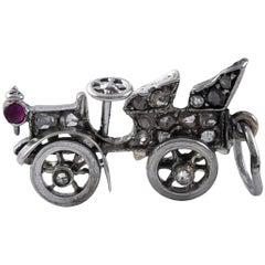Antique Platinum Diamond and Ruby Car Charm