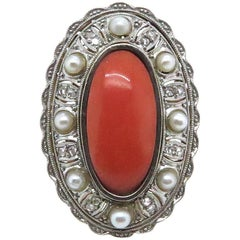 Original 1930s Coral Pearl and Diamond Cocktail Ring