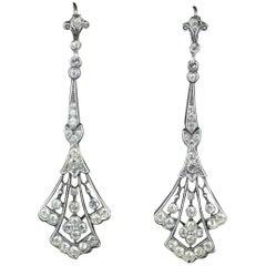 Antique Victorian Long Silver Paste Drop Earrings, circa 1900