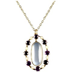 Antique Victorian Moonstone Amethyst Pendant Necklace Gold, circa 1900
