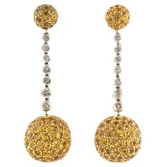 Dangling Earrings White Gold and Yellow Gold with Diamonds and Sapphires