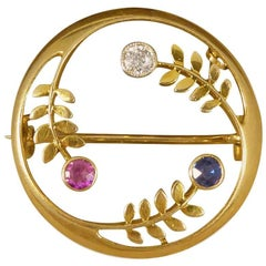 Antique Edwardian Ruby, Diamond and Sapphire Set Circular Gold Brooch