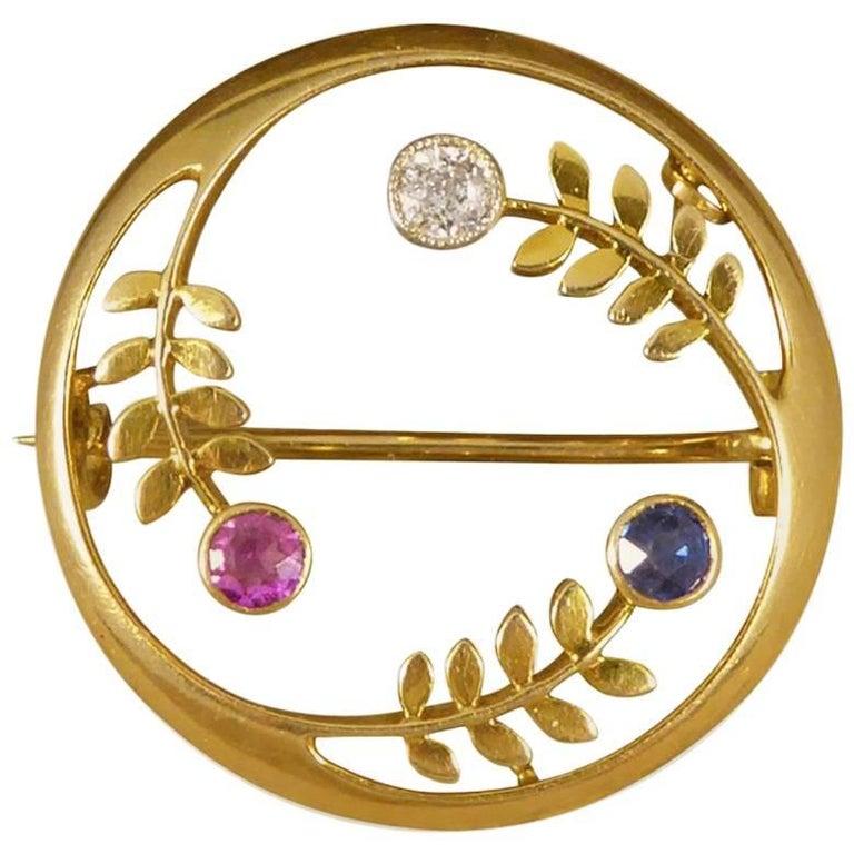 Antique Edwardian Ruby, Diamond and Sapphire Set Circular Gold Brooch