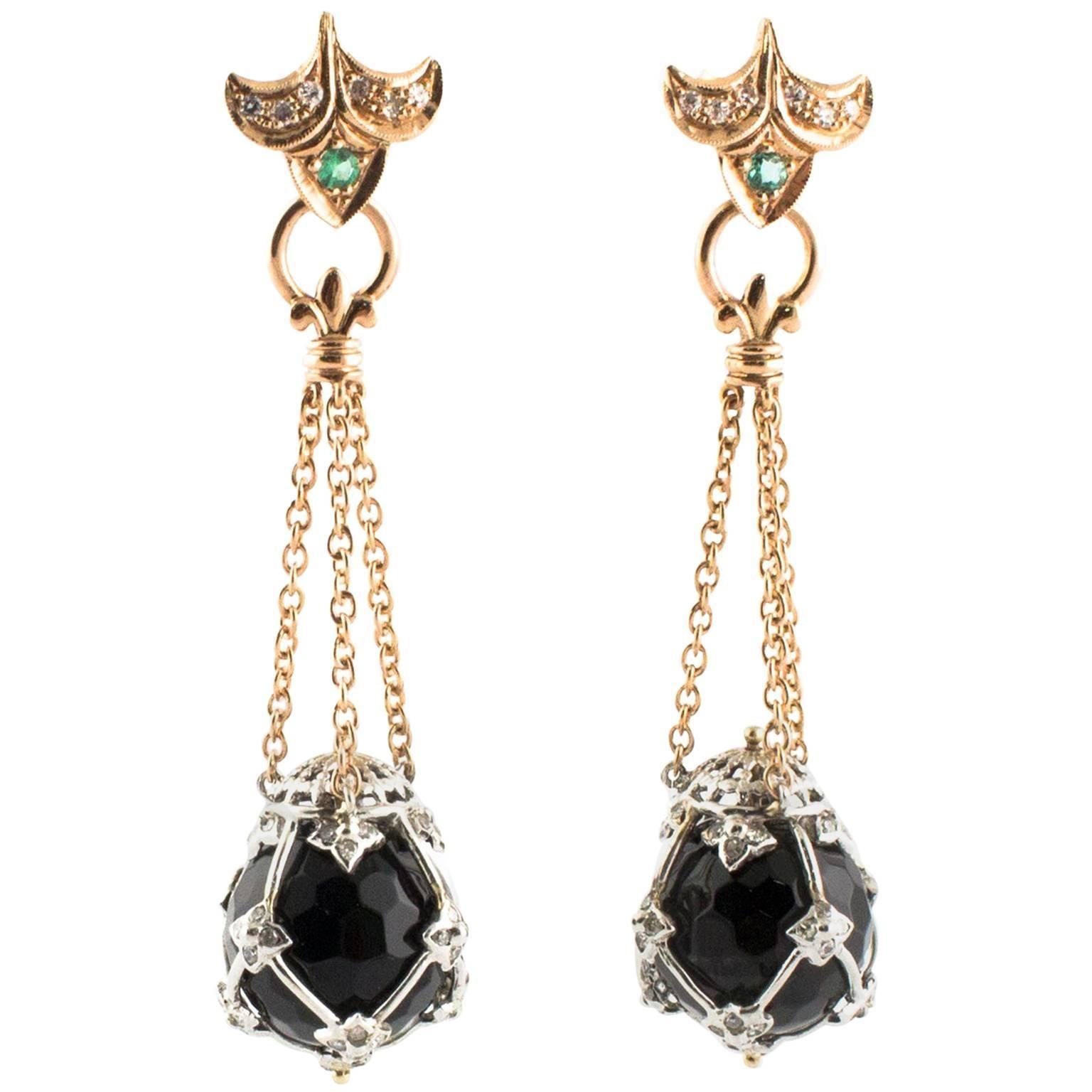Diamonds Onyx Emeralds Rose Gold Dangling Earrings