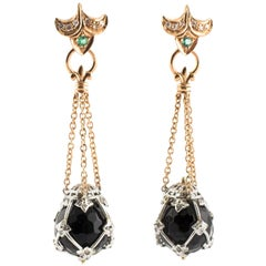 Dangling Earrings, 14 Karat Rose Gold and Stones