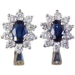 Sapphire and Diamond Cluster 18 Carat White Gold Earrings