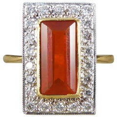 Vintage 18 Carat Fire Opal and Diamond Cluster Ring