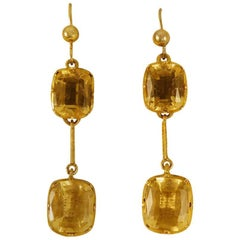 Antique Citrine 9 Carat Gold Drop Earrings