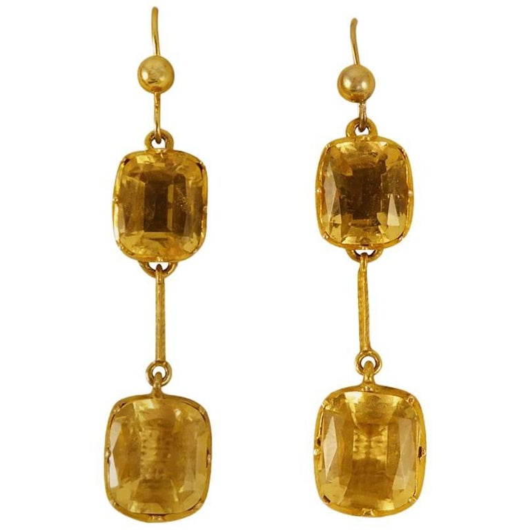 Antique Citrine 9 Carat Gold Drop Earrings For