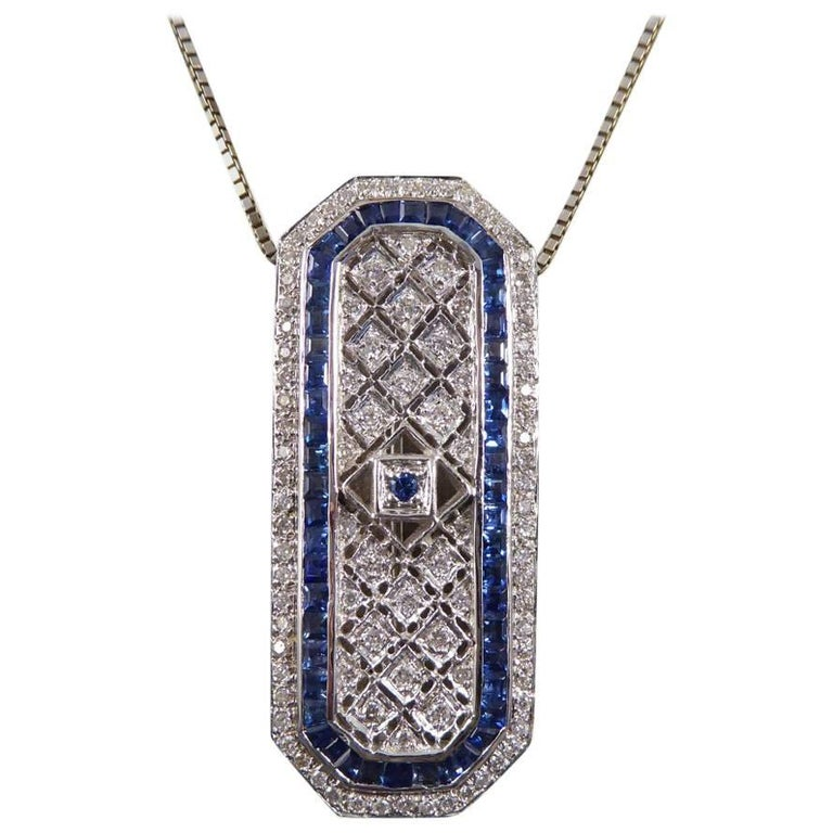 Sapphire and Diamond 18 Carat Pendant Brooch and Chain 1
