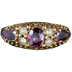Antique Georgian 15 Carat Gold Almandine Garnet Pearl Ring, circa 1780