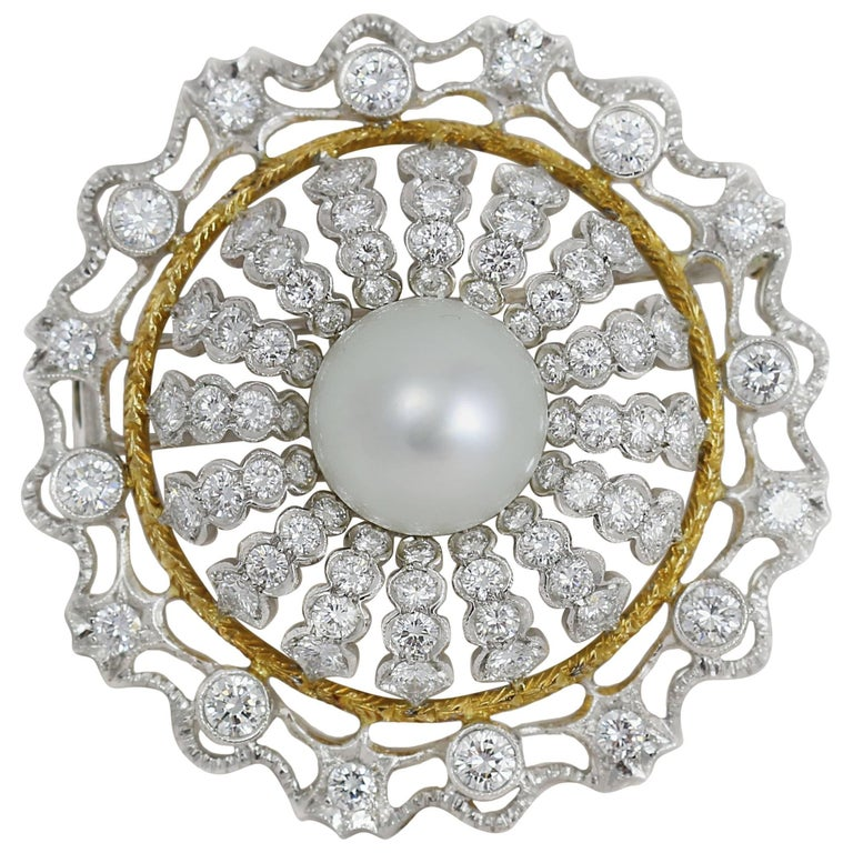 Pearl and Diamond White Gold Statement Brooch