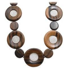 Pamela Huizenga Round Wood Beads and Pave Diamond Necklace