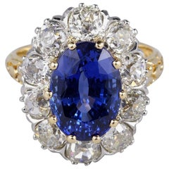 Edwardian Certified Untreated 6.50 Carat Burma Sapphire 3.30 Carat Diamond Ring