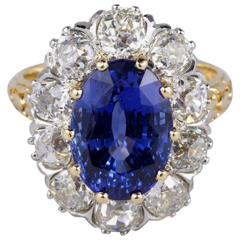 Edwardian Certified Untreated 6.50 Carat Burma Sapphire 3.30 Carat Diamond Ring