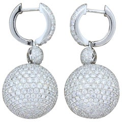 Diamond Pave Sphere Gold Drop Earrings