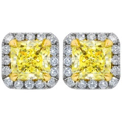 GIA Certified 3.25 Carat Fancy Yellow Diamond Studs