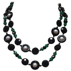 Marina J Black and Green Onyx Pearl Sautoir