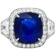 GIA Certified 11.12 Carat Cushion Cut Sapphire Ring