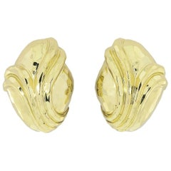 Henry Dunay Hammer Facet Yellow Gold Earrings