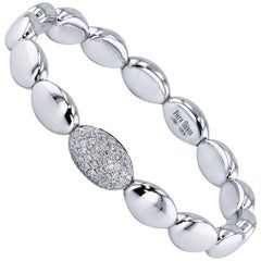 0.56 Carat Diamond Stretch 18 Karat White Gold Bead Bracelet