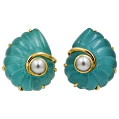 18 Karat Yellow Gold Seaman Schepps Trianon Turquoise Crystal Pearl Earrings