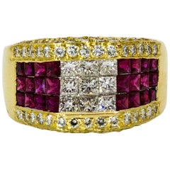 1.68 ctw Diamond 1.50 ctw Ruby 18 KY Gold Cocktail Ring