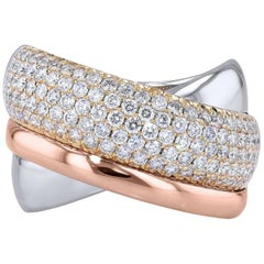 1.23 Carat Pave Diamond Tri-Color Metal Cross-Over Band Ring