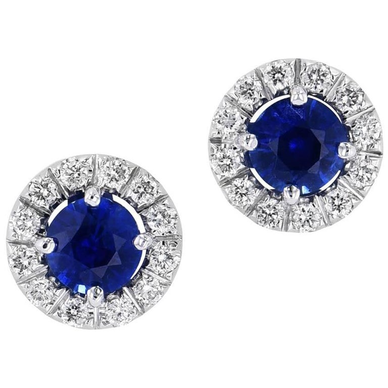 H & H 0.73 Carat Blue Sapphire Stud Earrings For Sale