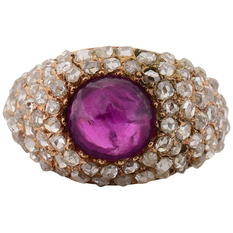 Victorian Era Cabochon Ruby Diamond Gold Ring