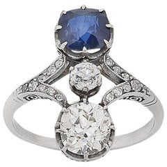 Art Deco Platinum Old Cut Diamond and Sapphire Ring