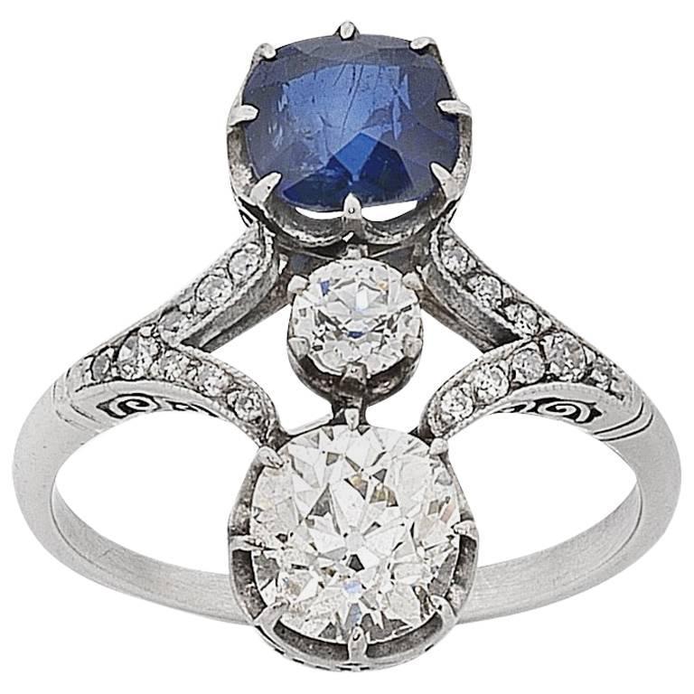 Art Deco Platinum Old Cut Diamond and Sapphire Ring