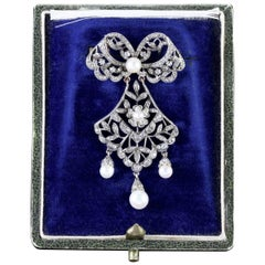 Antique French Victorian Boxed Belle Epoque Brooch, circa 1900