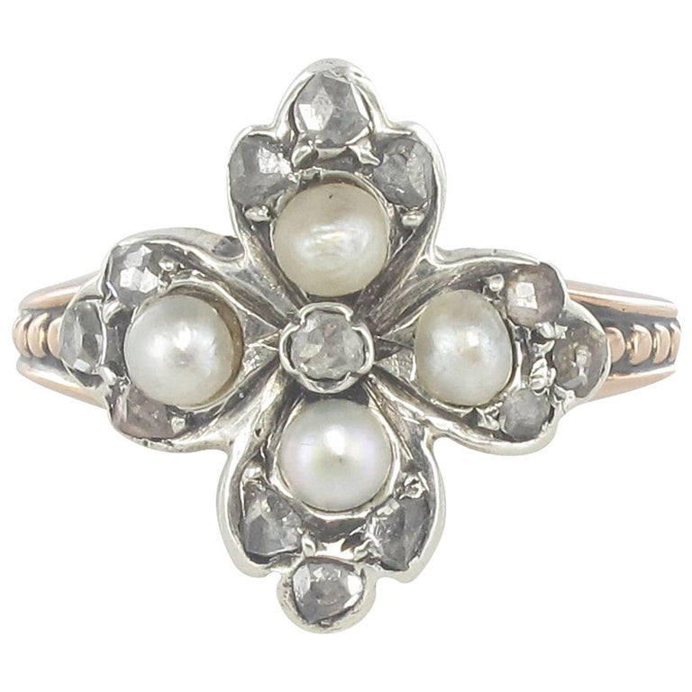 19th Century Antique Clover Shape Natural Pearl Diamonds Ring