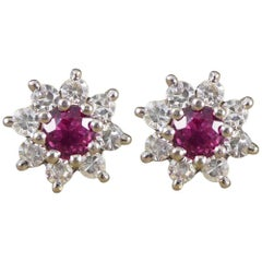 Vintage Ruby and Diamond Cluster Earrings in 18 Carat White Gold