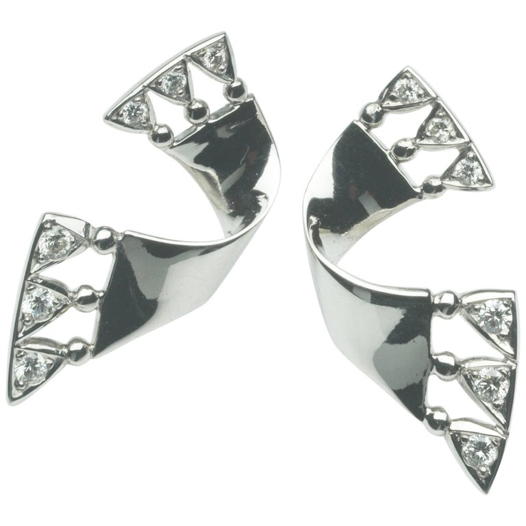 White Gold White Diamond Earrings