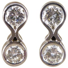 Contemporary Two-Stone Diamond Earrings in 18 Carat White Gold