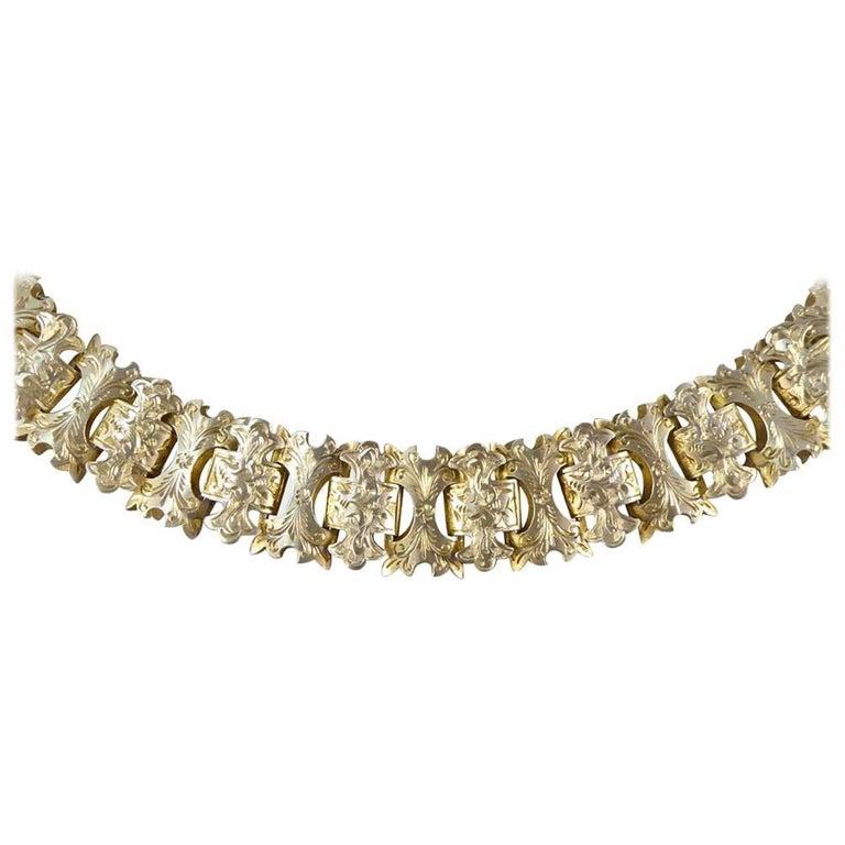 Antique Victorian Link Chain Silver Gilt Necklace