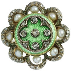 Victorian Green Enamel, Pearl and Diamond Engraved Yellow Gold Ring