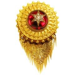 Victorian Red Garnet and Diamond Yellow Gold Tassel Locket Brooch