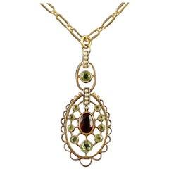 Antique Victorian 9 Carat Gold Suffragette Garnet Necklace, circa 1900