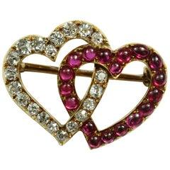 Burmese Ruby and Diamond Russian Heart Brooch