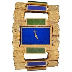 Piaget Ladies Yellow Gold Lapis Lazuli Nephrite Cuff Wristwatch, circa 1970
