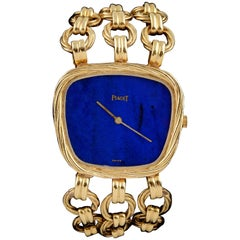 Piaget Ladies Yellow Gold Lapis Lazuli Bracelet Wristwatch, circa 1980
