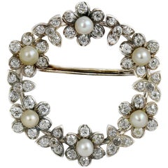 Edwardian Pearl and Diamond Floral Wreath Platinum Brooch