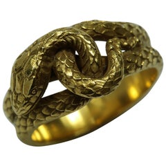 Antique Victorian circa 1860s Gold Snake Band Ring