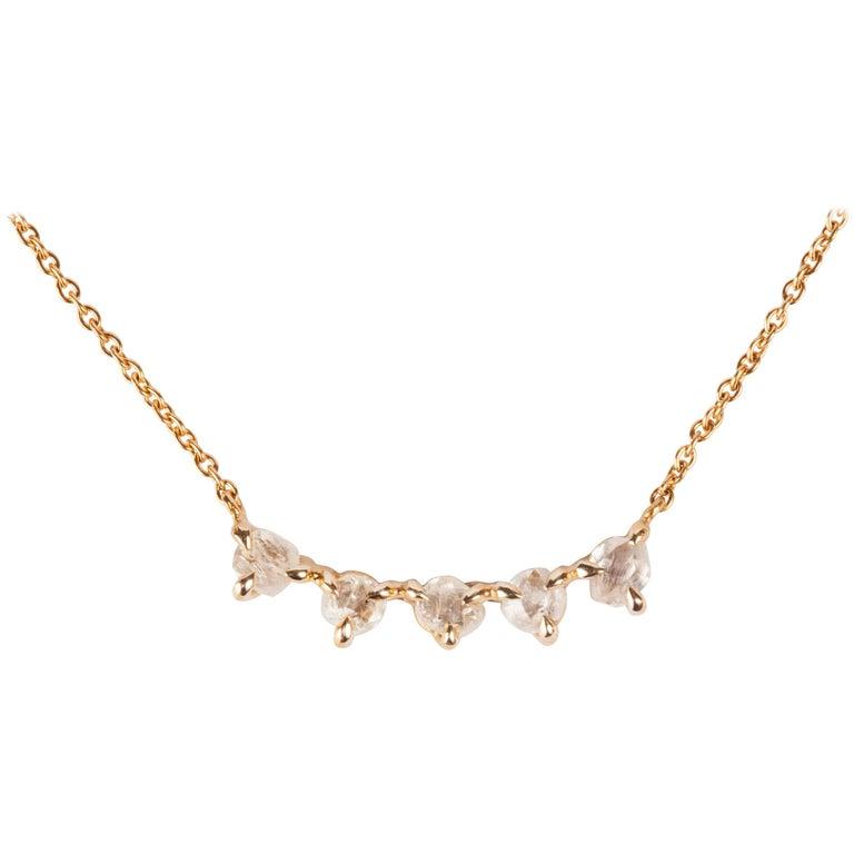 1.17 Carat Rough White Diamonds Gold Chain Necklace