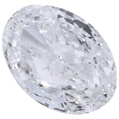 HRD Certified Natural 5.01 Carat H IF Oval Cut White Diamond