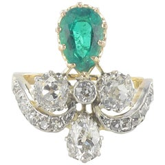 French Napoleon 3 1850s Emerald Diamond Duchess Ring
