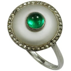 Cabochon Emerald and Rock Crystal Art Deco Ring
